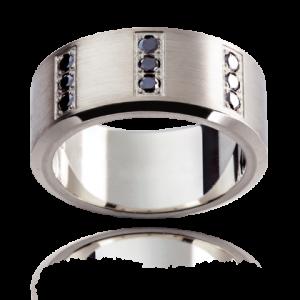 18K White gold Black diamond wedding Ring