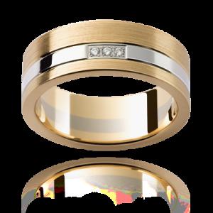 18K White And Yellow Gold Diamonds Wedding Ring