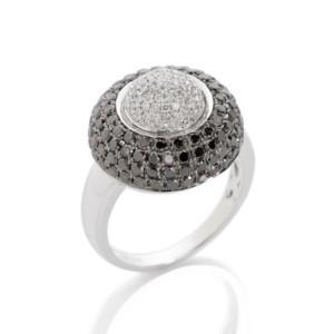Black and White Diamond Cocktail Ring in 14 Karat White Gold