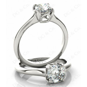 Cushion Cut Classic Four Claws Diamond Solitaire Ring