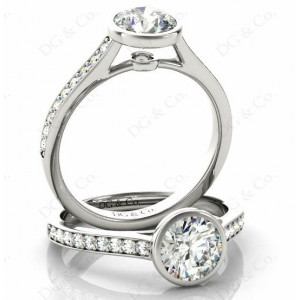 Brilliant Cut Bezel Diamond Ring with Channel Set Side Stones
