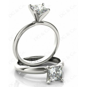 Princess Cut Classic Four Claws Diamond Solitaire Ring