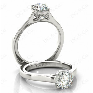 Brilliant Cut Diamond Engagement Ring with Four Prong set centre stone