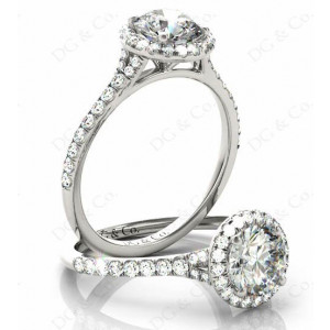 Brilliant Cut Diamond Ring With Brilliant Cut Diamonds Scallop Set on the Halo and Down the Shoulders.