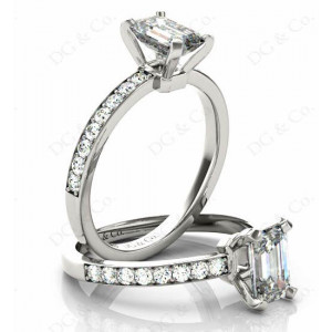 Emerald Cut Diamond Engagement Ring with Four Prong set centre stone