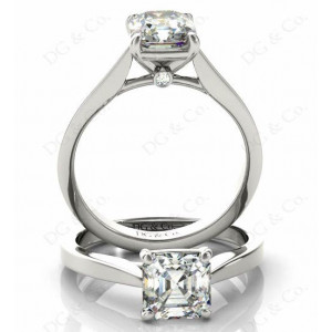 Asscher Cut Diamond Engagement Ring with Claw set centre stone