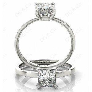 Princess cut classic diamond engagement ring in four claw setting