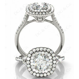 Brilliant Cut Diamond Ring with Double Halo and Pave Set Side Stones.