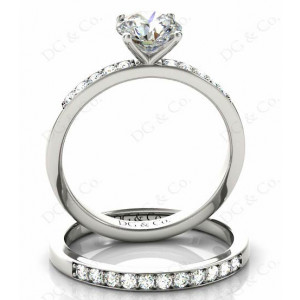 Brilliant Cut Diamond Wedding Set Rings with Pave Setting Side Stones