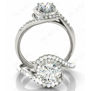 Brilliant Cut Halo Diamond Cross Over Engagement ring with claw set centre stone