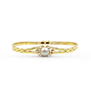 18K Yellow Gold Akoya Pearl Diamond Bracelet