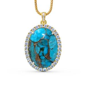 18K Yellow Gold Diamond Turquoise Pendant