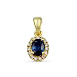 Blue Sapphire Diamond Pendant In 18 Karat Yellow Gold
