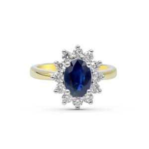 Blue Sapphire Diamond Engagement Ring In 18 Karat White And Yellow Gold