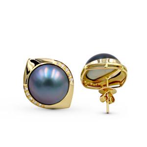 14K Yellow Gold Diamond Mabe Pearl Earring