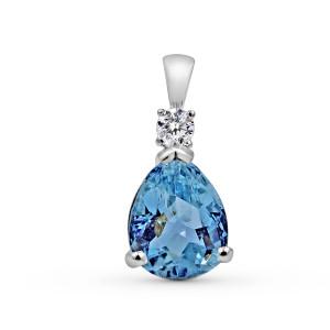 Aquamarine Diamond Pendant In 18 Karat White Gold