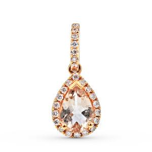 Morganite Diamond Halo  Pendant in 18K Rose Gold