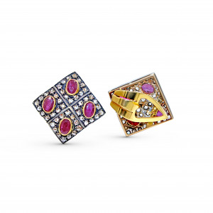 18K Yellow Gold Ruby Diamond Earring