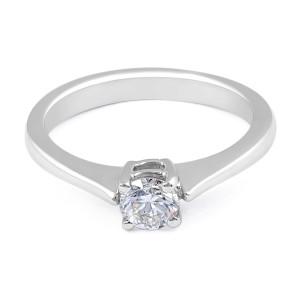 Solitaire Diamond Engagement Ring in 18 Karat White Gold