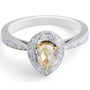 Fancy Yellow Pear Diamond Halo Ring in 18 Karat White Gold