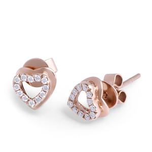 18 Karat Rose Gold Diamond Heart Stud Earrings