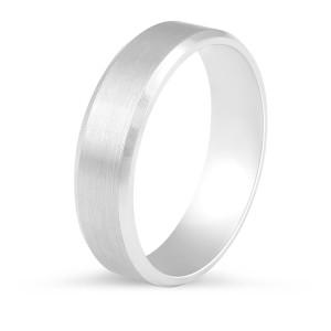 Modern brushed wedding ring with polished bevelled edges