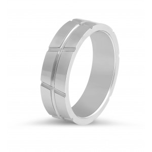 Gents Wedding Band with Polished Inlays