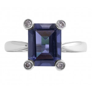 Iolite and Diamond Ring in 18 Karat White Gold