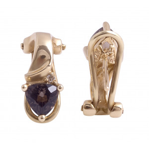 Smokey Quartz and Diamond Earrings in 14 Karat Yellow Gold