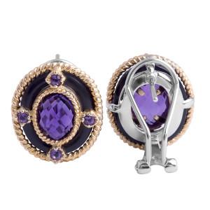 Amethyst and Black Onyx Earrings