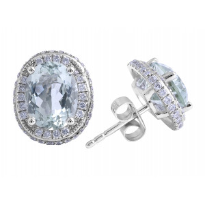 Prasiolite and Diamond Earrings in 18 Karat White Gold