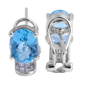 Blue Topaz and Diamond Earrings in 14 Karat White Gold