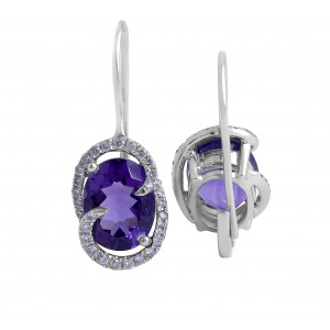 Oval Amethyst and Diamond Drop Earrings in 14 Karat White Gold