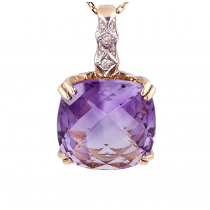 Cushion Cut Amethyst and Diamond Pendant in 14 Karat White and Yellow Gold