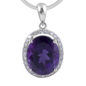 Amethyst and Diamond Halo pendant