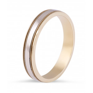 18 Karat 2-Tone Gents Wedding Ring with Milgrain Details