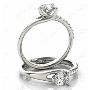 Cushion Cut Diamond Ring with Three Prong Set Centre Stone