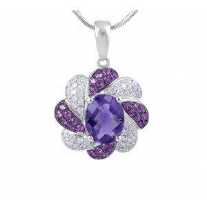 Amethyst, Pink Sapphire and Diamond Pendant in 14 Karat White Gold