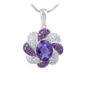 Amethyst, Pink Sapphire and Diamond Pendant