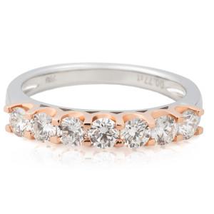 Diamond Wedding Ring in 18 Karat 2 tone Rose and white gold