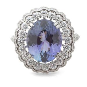 Double Halo Diamond Tanzanite Ring in 18 Karat White gold