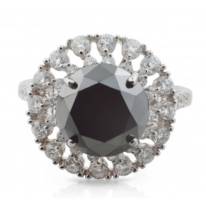Black and white Diamond Double Halo Ring in 18 Karat White Gold
