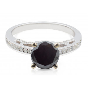 Black and White Diamond Pave Ring in 18 Karat White Gold