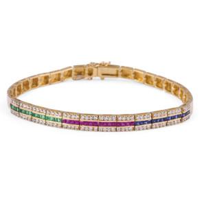 Ruby Sapphire Emerald Diamond Bracelet in 18 Karat Yellow Gold