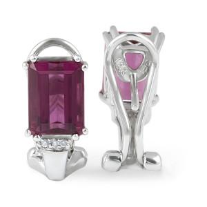 Pink Turmaline Diamond Earring in 18 Karat White Gold