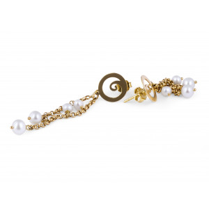 Pearl and Gold Earring set in 18 Karat Yellow gold