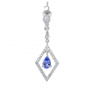 Tanzanite Diamond Drop Earrings in 18 Karat White Gold