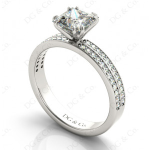 Princes Cut Diamond Engagement Ring with Split Claw Prong set centre stone