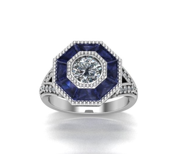 18K White Gold Diamond Sapphire engagement ring