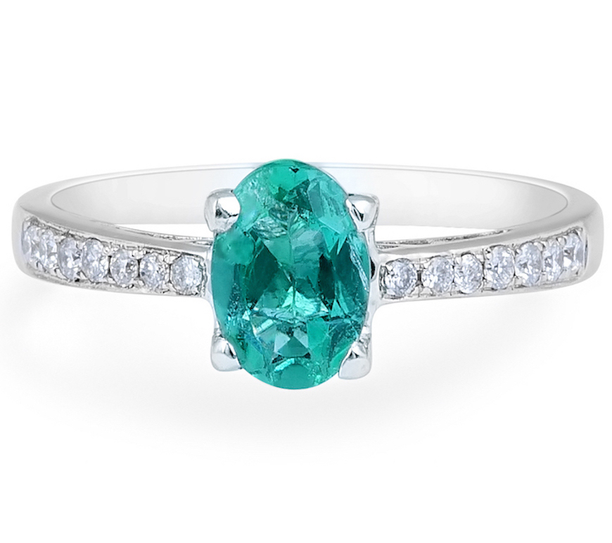 Emerald Diamond Engagement Ring in 18 Karat White Gold - Diamond rings